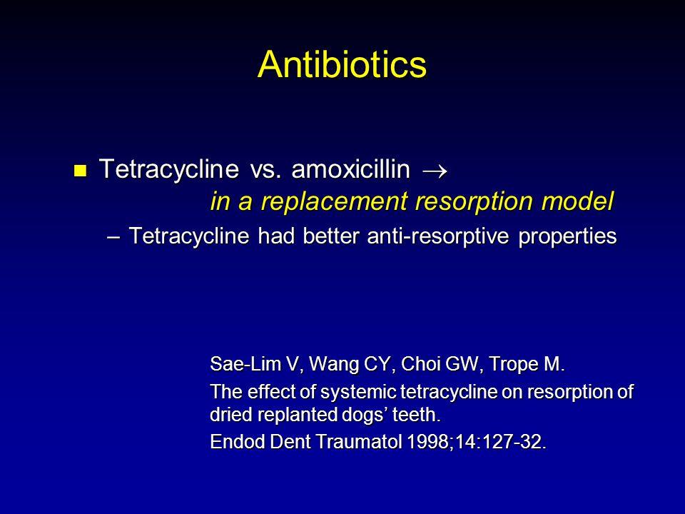 Antibiotics Tetracycline vs. amoxicillin in a replacement resorption model Tetracycline vs. amoxicillin in a replacement resorption model –Tetracyclin