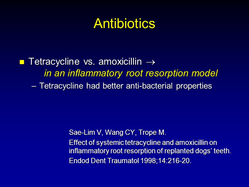 Antibiotics Tetracycline vs. amoxicillin in an inflammatory root resorption model Tetracycline vs. amoxicillin in an inflammatory root resorption mode