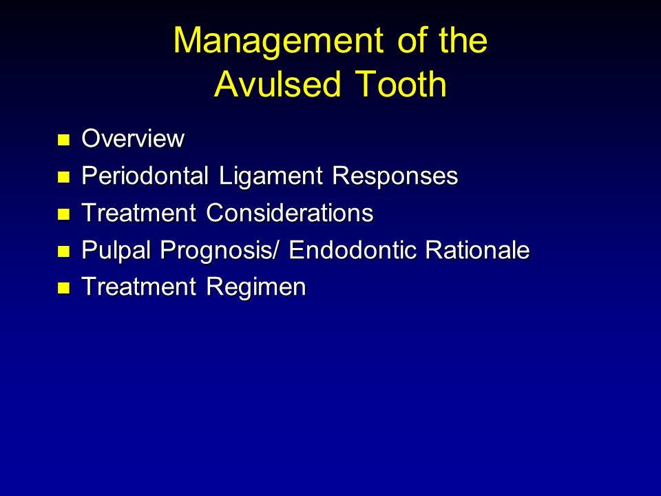 Overview Overview Periodontal Ligament Responses Periodontal Ligament Responses Treatment Considerations Treatment Considerations Pulpal Prognosis/ Endodontic Rationale Pulpal Prognosis/ Endodontic Rationale Treatment Regimen Treatment Regimen