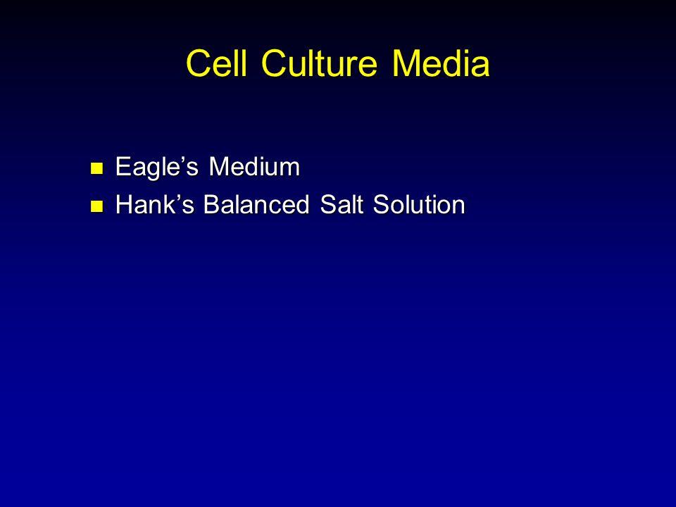 Cell Culture Media Eagles Medium Eagles Medium Hanks Balanced Salt Solution Hanks Balanced Salt Solution