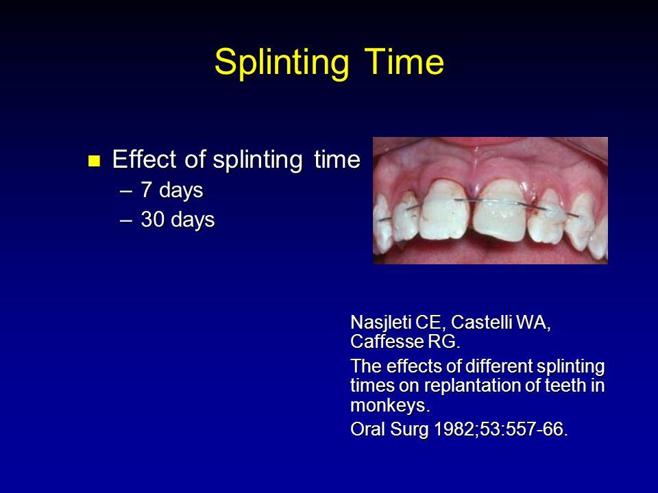 Splinting Time Effect of splinting time Effect of splinting time –7 days –30 days Nasjleti CE, Castelli WA, Caffesse RG. The effects of different spli