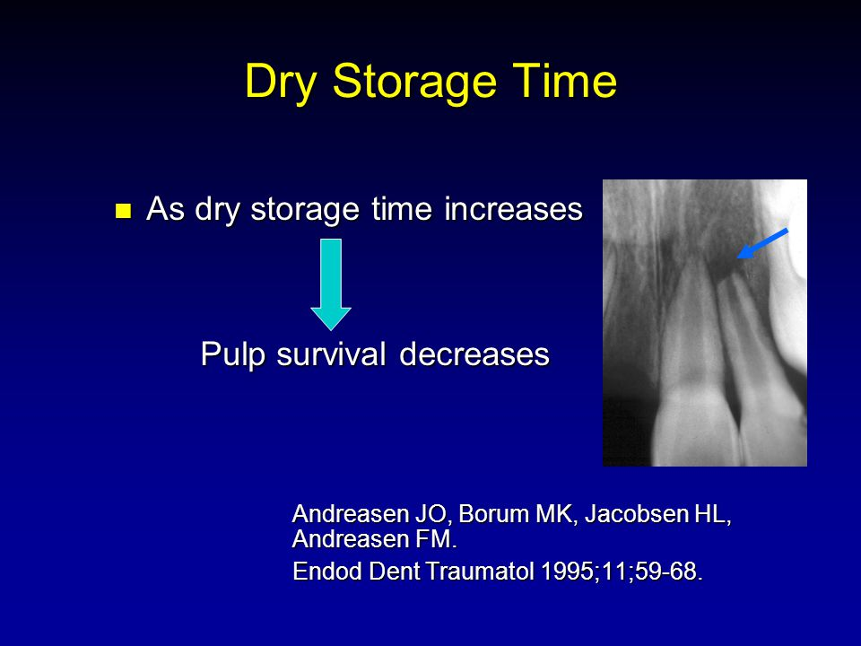 Dry Storage Time As dry storage time increases As dry storage time increases Pulp survival decreases Pulp survival decreases Andreasen JO, Borum MK, Jacobsen HL, Andreasen FM.