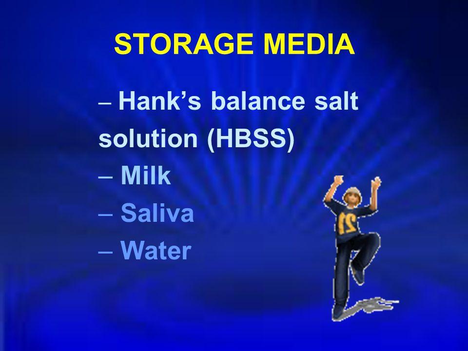 STORAGE MEDIA – Hanks balance salt solution (HBSS) – Milk – Saliva – Water