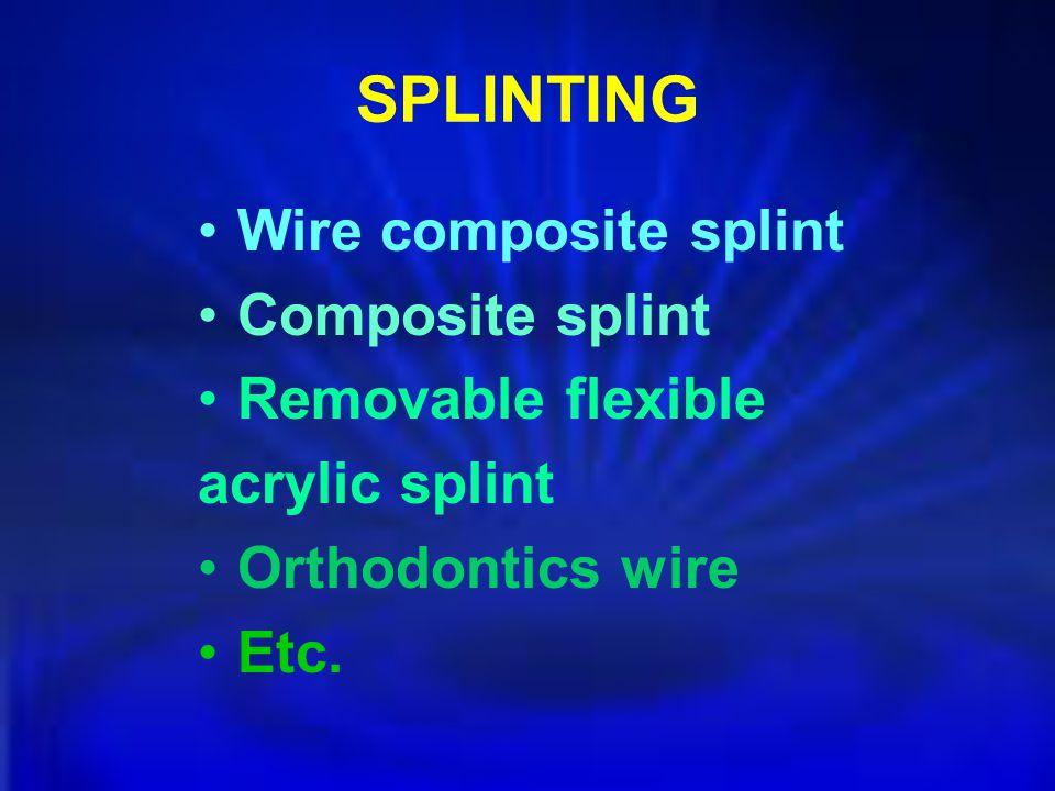 SPLINTING Wire composite splint Composite splint Removable flexible acrylic splint Orthodontics wire Etc.