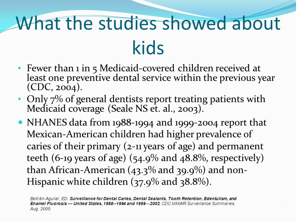 What the studies showed about kids Fewer than 1 in 5 Medicaid-covered children received at least one preventive dental service within the previous yea