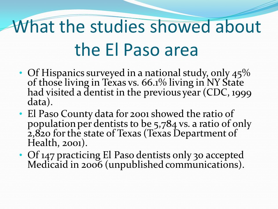 What the studies showed about the El Paso area Of Hispanics surveyed in a national study, only 45% of those living in Texas vs. 66.1% living in NY Sta