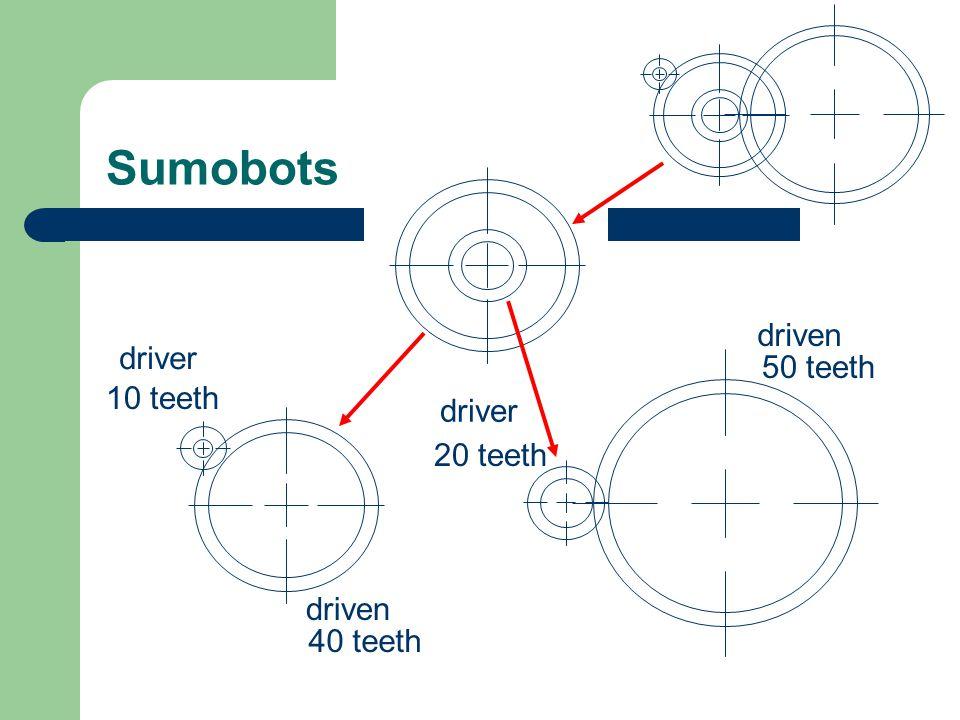 Sumobots 10 teeth 40 teeth driver driven 50 teeth 20 teeth driver driven