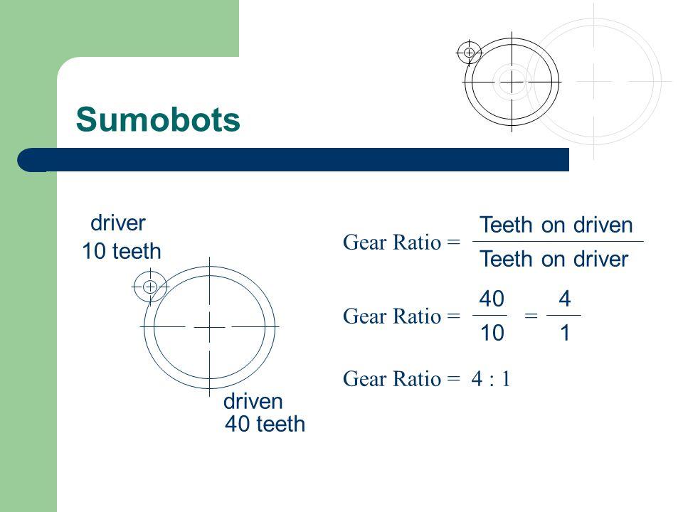 Sumobots 10 teeth 40 teeth driver driven Teeth on driven Teeth on driver Gear Ratio = 40 10 Gear Ratio = = 4 1 Gear Ratio = 4 : 1
