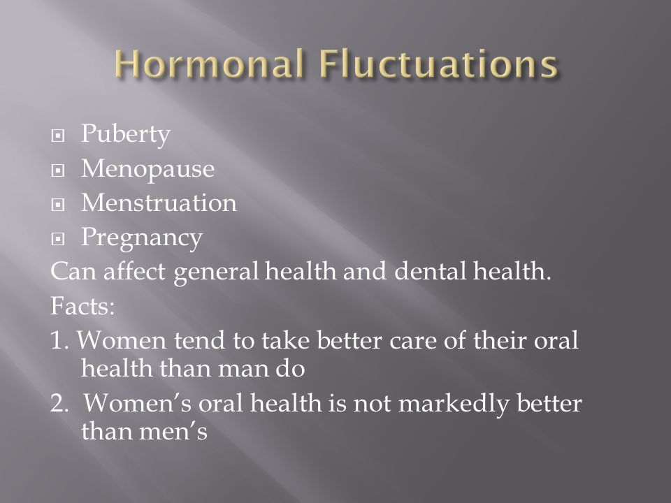 Puberty Menopause Menstruation Pregnancy Can affect general health and dental health. Facts: 1. Women tend to take better care of their oral health th
