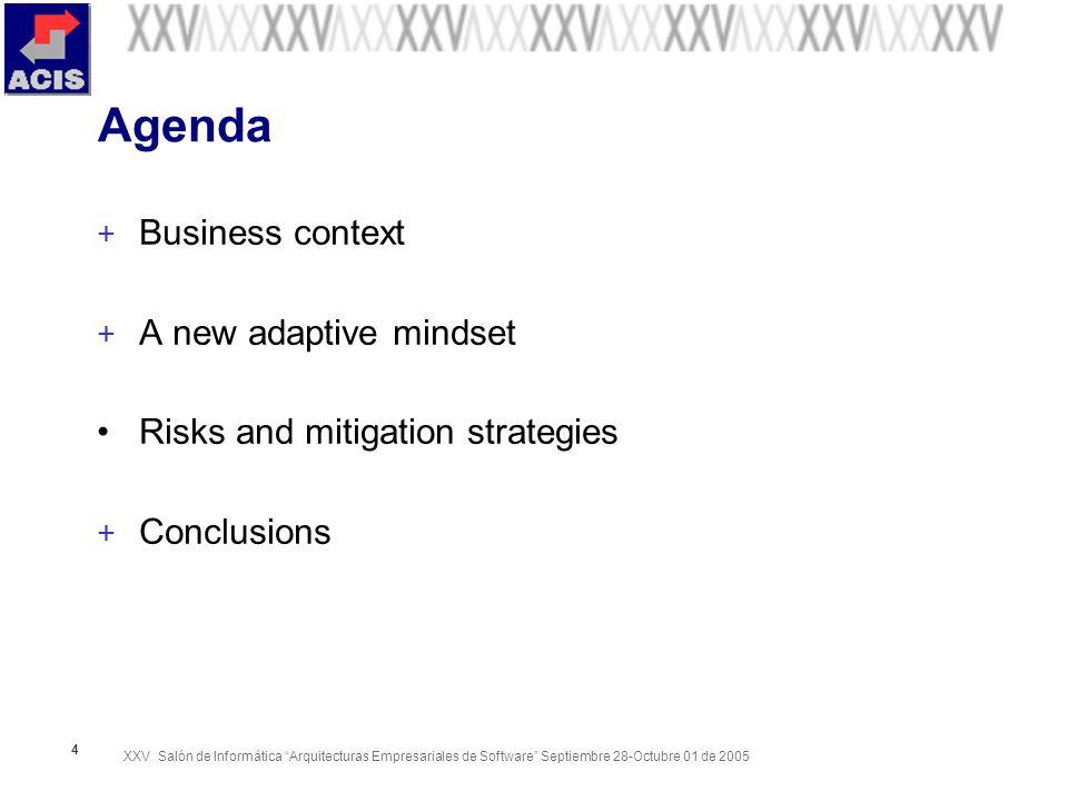 XXV Salón de Informática Arquitecturas Empresariales de Software Septiembre 28-Octubre 01 de 2005 4 Agenda + Business context + A new adaptive mindset Risks and mitigation strategies + Conclusions