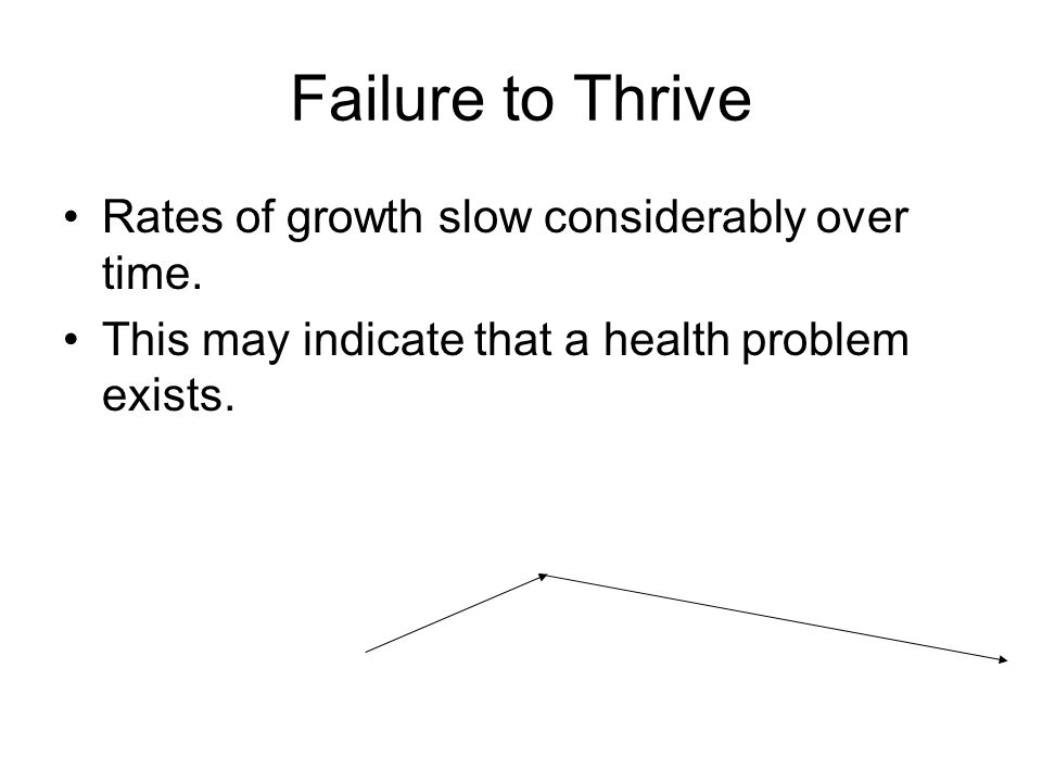 Failure to Thrive Rates of growth slow considerably over time.