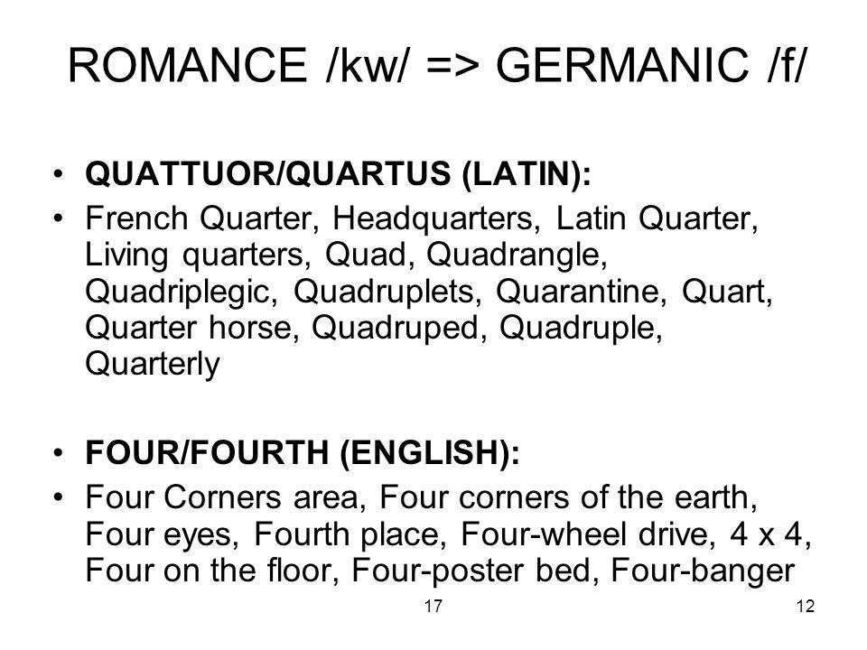 1712 ROMANCE /kw/ => GERMANIC /f/ QUATTUOR/QUARTUS (LATIN): French Quarter, Headquarters, Latin Quarter, Living quarters, Quad, Quadrangle, Quadriplegic, Quadruplets, Quarantine, Quart, Quarter horse, Quadruped, Quadruple, Quarterly FOUR/FOURTH (ENGLISH): Four Corners area, Four corners of the earth, Four eyes, Fourth place, Four-wheel drive, 4 x 4, Four on the floor, Four-poster bed, Four-banger
