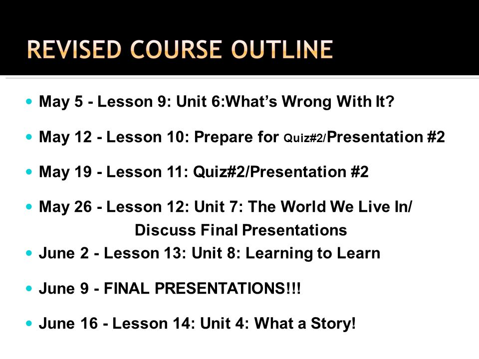 May 5 - Lesson 9: Unit 6:Whats Wrong With It.