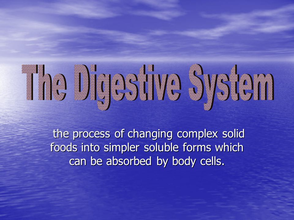 the process of changing complex solid foods into simpler soluble forms which can be absorbed by body cells. the process of changing complex solid food