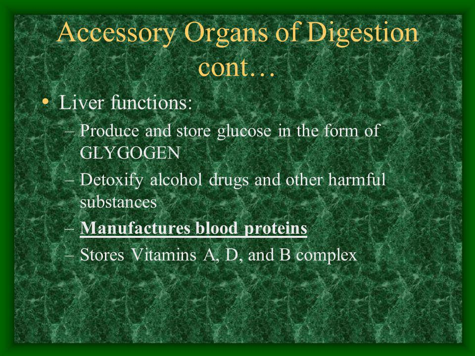 Accessory Organs of Digestion cont… Liver functions: –Produce and store glucose in the form of GLYGOGEN –Detoxify alcohol drugs and other harmful subs