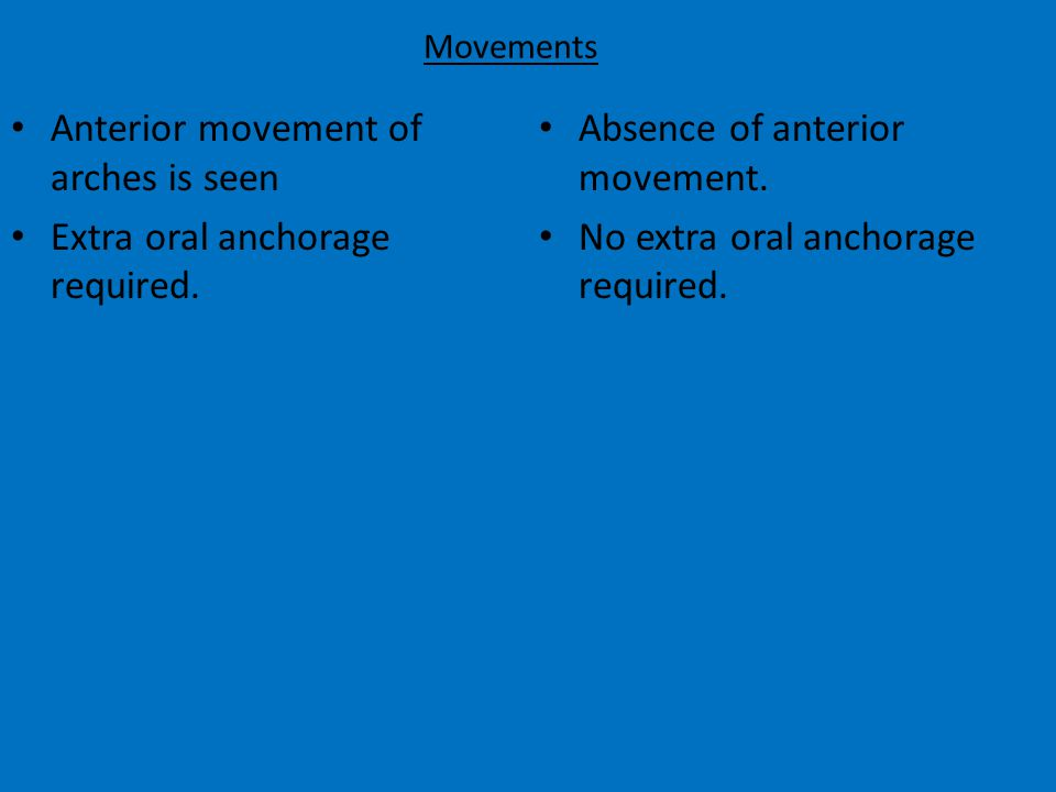 Movements Anterior movement of arches is seen Extra oral anchorage required.