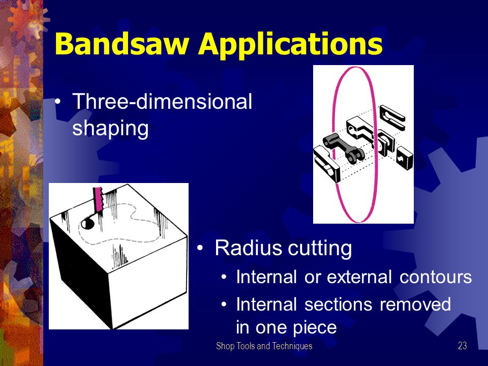 Shop Tools and Techniques23 Three-dimensional shaping Radius cutting Internal or external contours Internal sections removed in one piece Bandsaw Appl