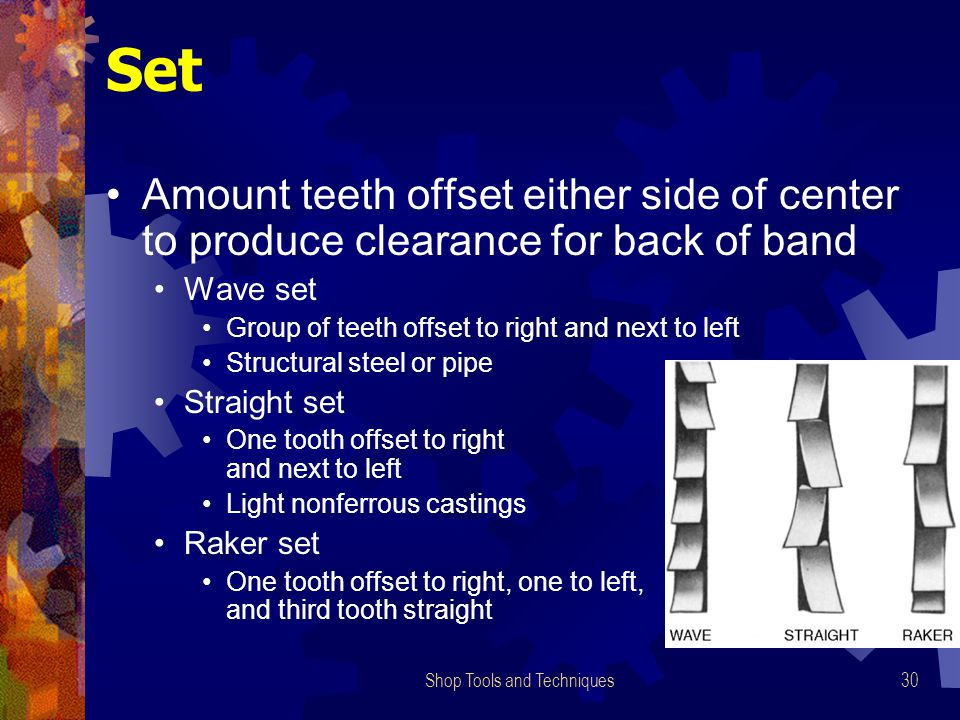 Shop Tools and Techniques30 Set Amount teeth offset either side of center to produce clearance for back of band Wave set Group of teeth offset to righ