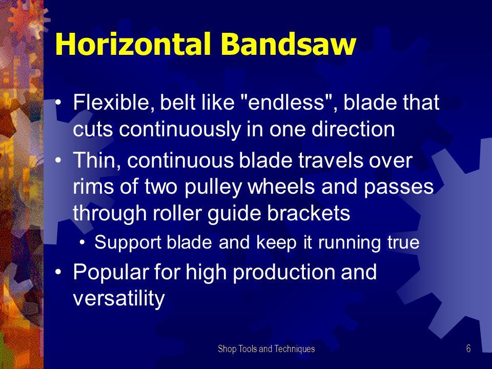 Shop Tools and Techniques6 Horizontal Bandsaw Flexible, belt like