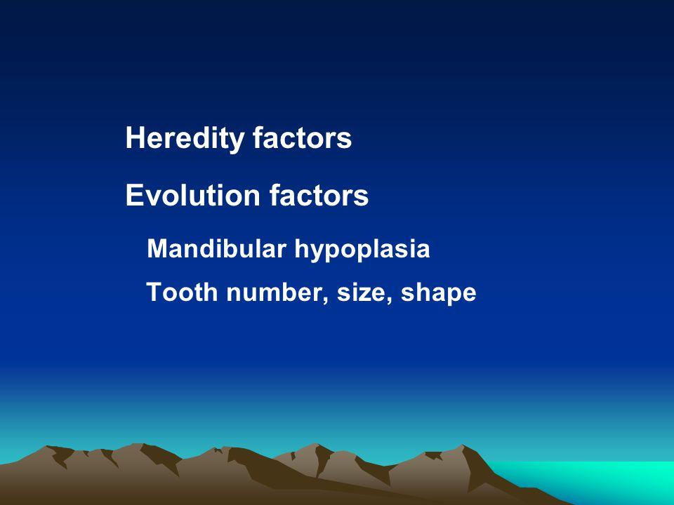 Environmental factors Obstacles of teeth eruption Early loss of deciduous teeth, Molars forward Retention of deciduous teeth Eruption of permanent teeth dislocation Oral bad habits