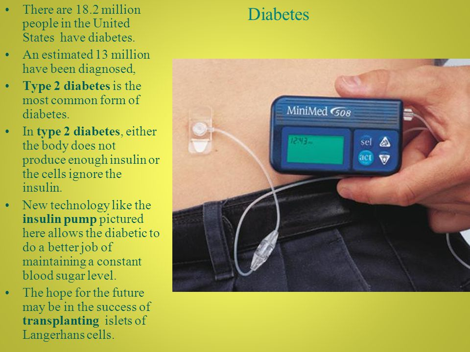Diabetes There are 18.2 million people in the United States have diabetes.