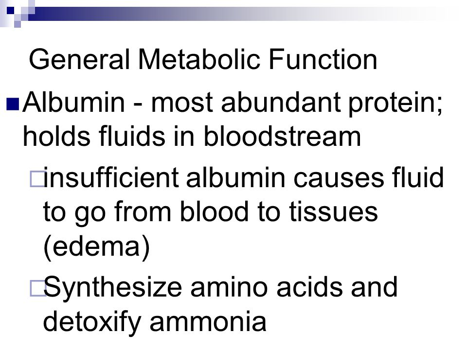 General Metabolic Function Albumin - most abundant protein; holds fluids in bloodstream insufficient albumin causes fluid to go from blood to tissues