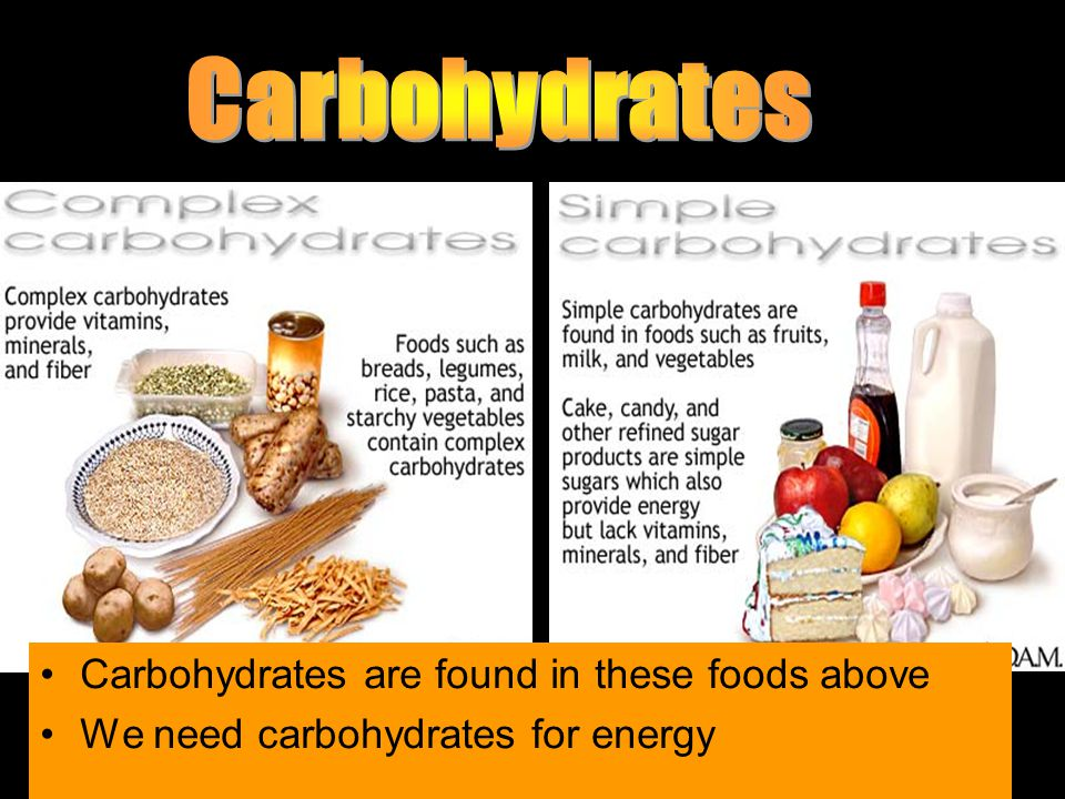 Carbohydrates are found in these foods above We need carbohydrates for energy