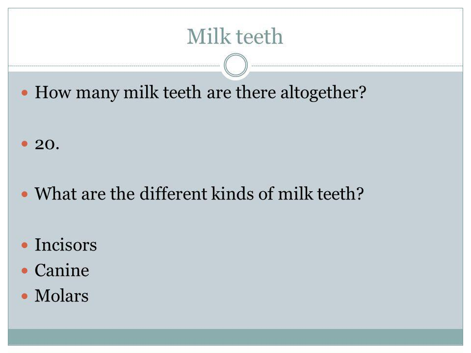Milk teeth How many milk teeth are there altogether? 20. What are the different kinds of milk teeth? Incisors Canine Molars