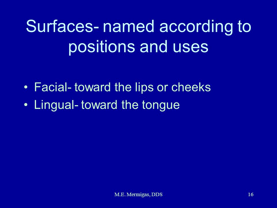 M.E. Mermigas, DDS16 Surfaces- named according to positions and uses Facial- toward the lips or cheeks Lingual- toward the tongue