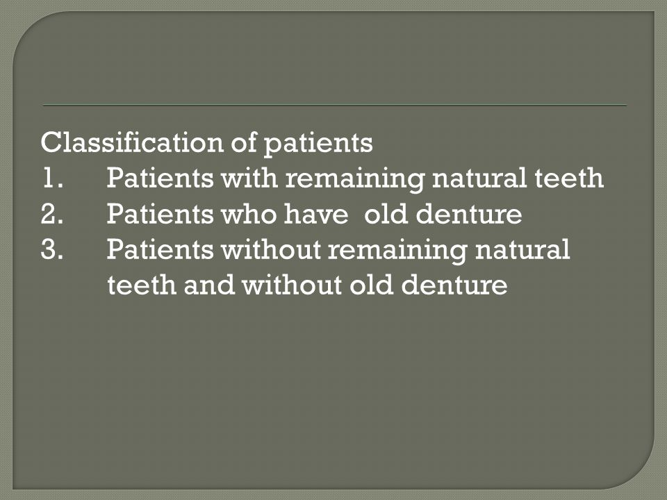 Objectives: 1.Esthetics 2.Masticatory function 3.Correction of speech defects 4.Preservation of the remaining tissue and muscle tone -Primary selection of the teeth must be carried out at the first appointment.