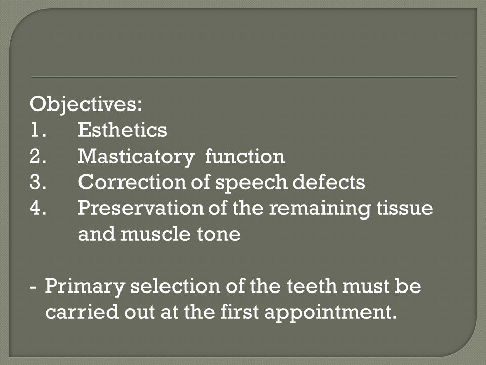 Guides for the anterior teeth selection 1.Pre-extraction guides a.Study cast b.Photographs c.Radiographs d.Extracted teeth