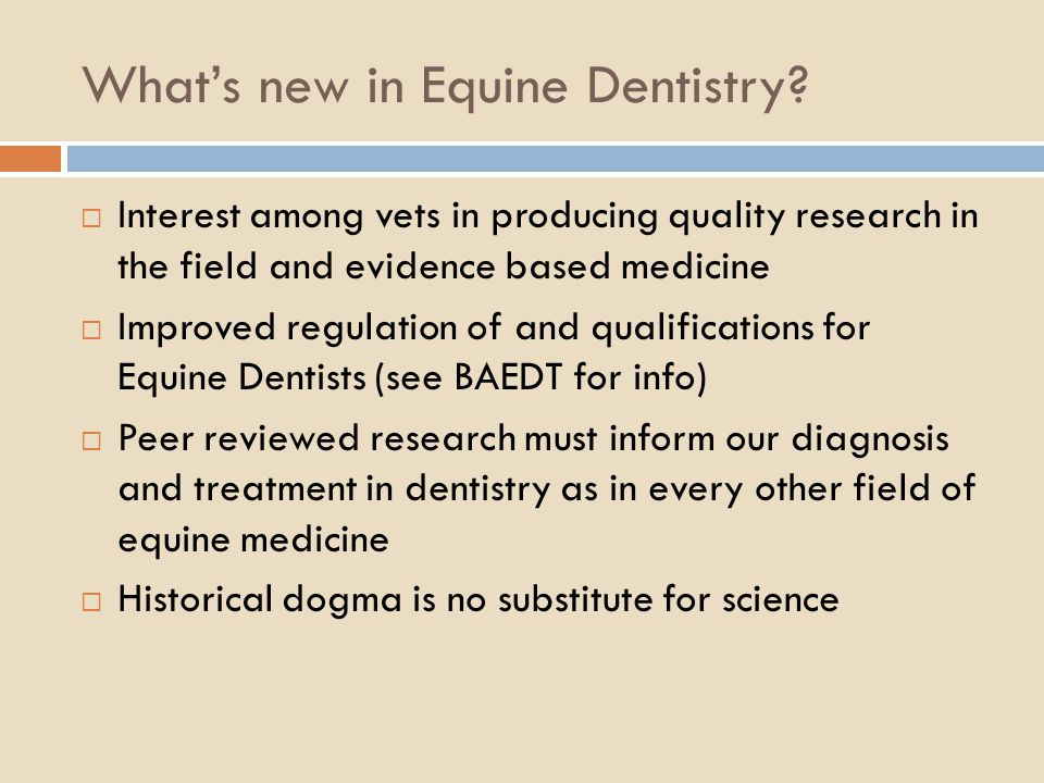 Whats new in Equine Dentistry? Interest among vets in producing quality research in the field and evidence based medicine Improved regulation of and q