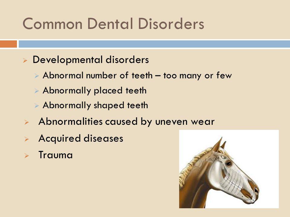 Common Dental Disorders Developmental disorders Abnormal number of teeth – too many or few Abnormally placed teeth Abnormally shaped teeth Abnormaliti