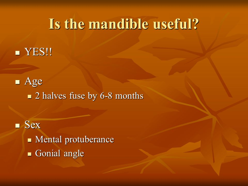 Is the mandible useful? YES!! YES!! Age Age 2 halves fuse by 6-8 months 2 halves fuse by 6-8 months Sex Sex Mental protuberance Mental protuberance Go