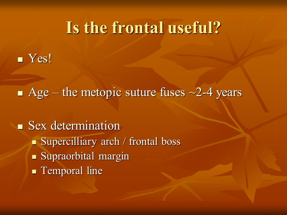 Is the frontal useful? Yes! Yes! Age – the metopic suture fuses ~2-4 years Age – the metopic suture fuses ~2-4 years Sex determination Sex determinati