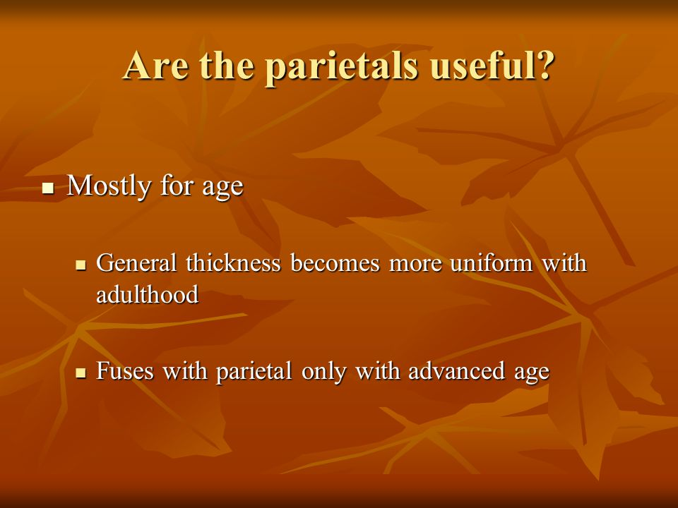 Are the parietals useful? Mostly for age Mostly for age General thickness becomes more uniform with adulthood General thickness becomes more uniform w