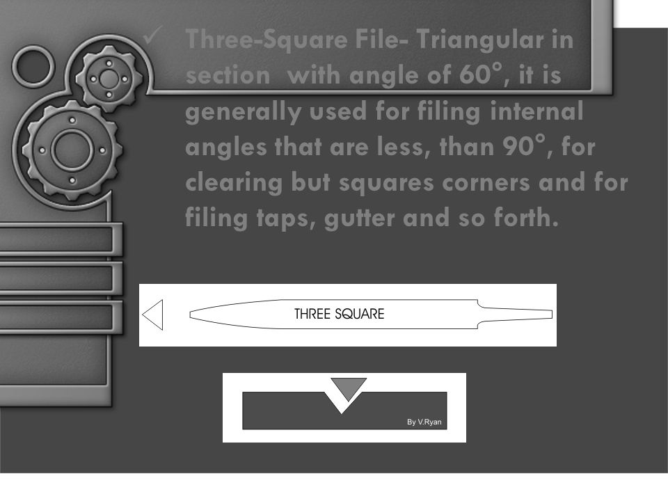 Three-Square File- Triangular in section with angle of 60°, it is generally used for filing internal angles that are less, than 90°, for clearing but