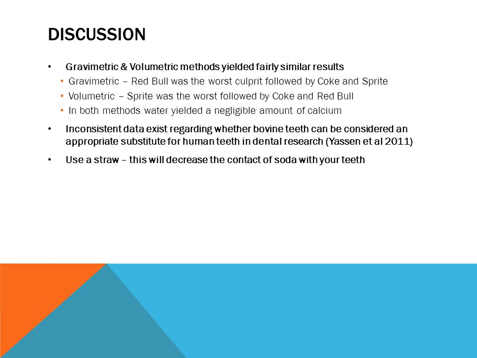 DISCUSSION Gravimetric & Volumetric methods yielded fairly similar results Gravimetric – Red Bull was the worst culprit followed by Coke and Sprite Volumetric – Sprite was the worst followed by Coke and Red Bull In both methods water yielded a negligible amount of calcium Inconsistent data exist regarding whether bovine teeth can be considered an appropriate substitute for human teeth in dental research (Yassen et al 2011) Use a straw – this will decrease the contact of soda with your teeth