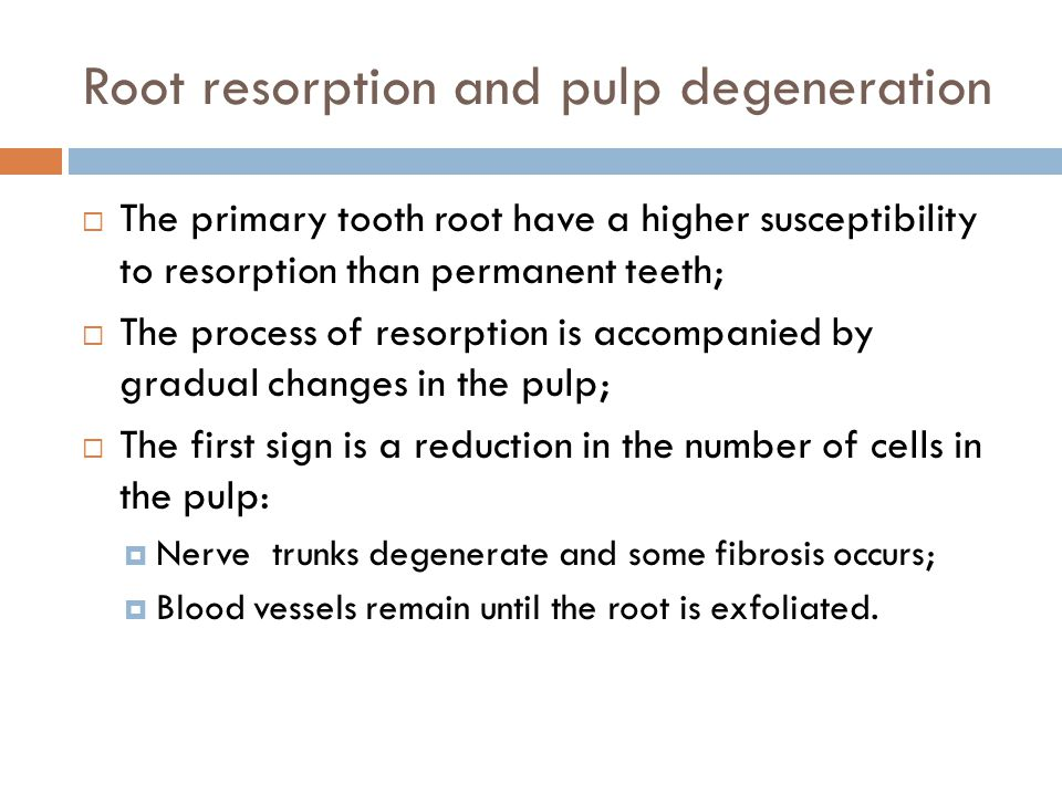 Root resorption and pulp degeneration The primary tooth root have a higher susceptibility to resorption than permanent teeth; The process of resorption is accompanied by gradual changes in the pulp; The first sign is a reduction in the number of cells in the pulp: Nerve trunks degenerate and some fibrosis occurs; Blood vessels remain until the root is exfoliated.