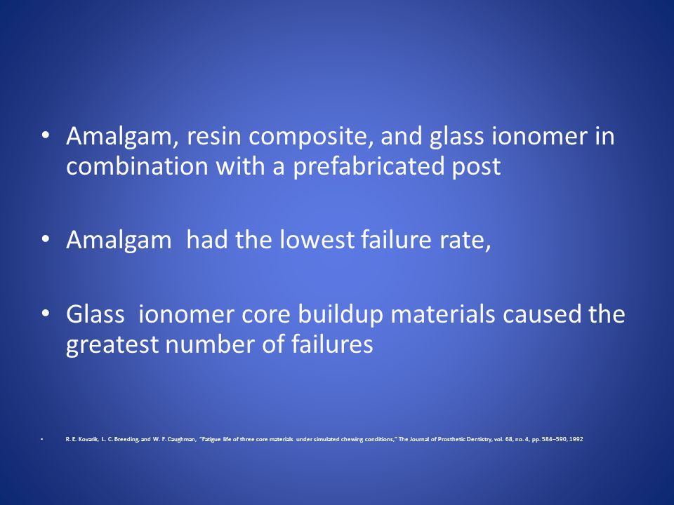 Amalgam, resin composite, and glass ionomer in combination with a prefabricated post Amalgam had the lowest failure rate, Glass ionomer core buildup m