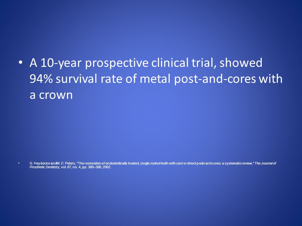 A 10-year prospective clinical trial, showed 94% survival rate of metal post-and-cores with a crown G. Heydecke andM. C. Peters, The restoration of en