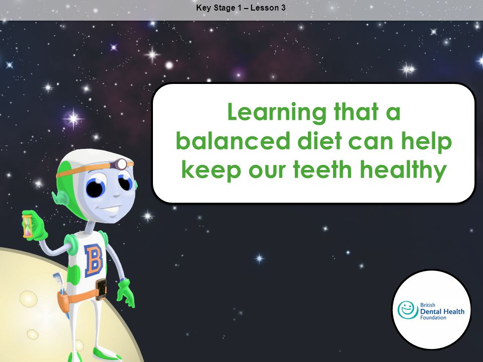 Key Stage 1 – Lesson 3 Learning that a balanced diet can help keep our teeth healthy