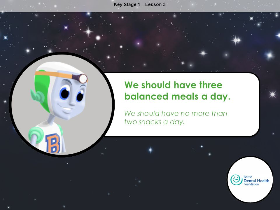 Key Stage 1 – Lesson 3 We should have three balanced meals a day. We should have no more than two snacks a day.