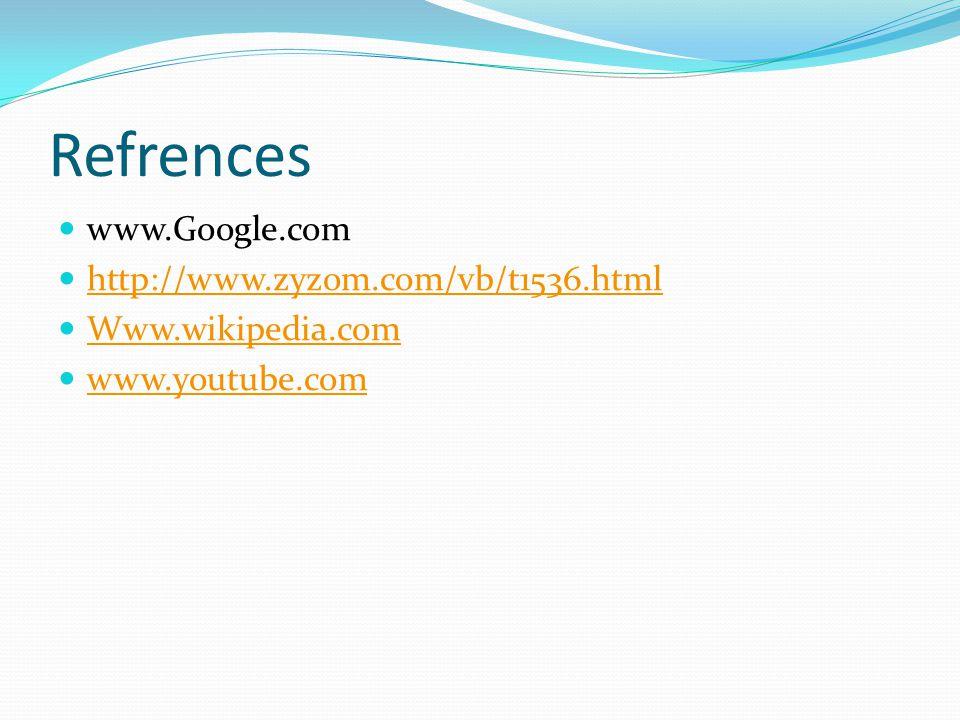 Refrences www.Google.com http://www.zyzom.com/vb/t1536.html Www.wikipedia.com www.youtube.com
