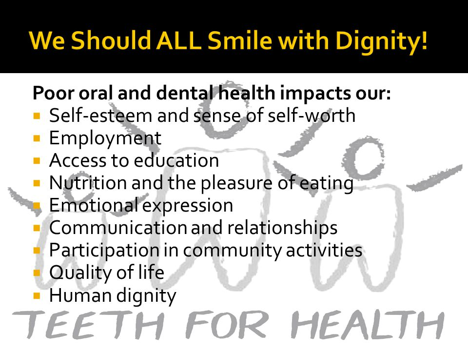 Poor oral and dental health impacts our: Self-esteem and sense of self-worth Employment Access to education Nutrition and the pleasure of eating Emotional expression Communication and relationships Participation in community activities Quality of life Human dignity