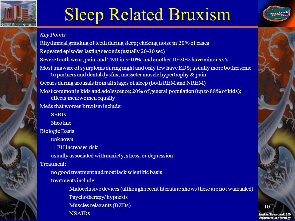 Stephan Eisenschenk, MD Department of Neurology Sleep Related Bruxism Key Points Rhythmical grinding of teeth during sleep; clicking noise in 20% of c