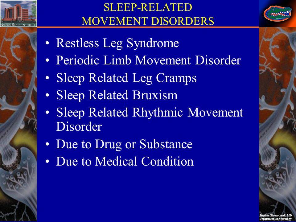 Stephan Eisenschenk, MD Department of Neurology SLEEP-RELATED MOVEMENT DISORDERS Restless Leg Syndrome Periodic Limb Movement Disorder Sleep Related L