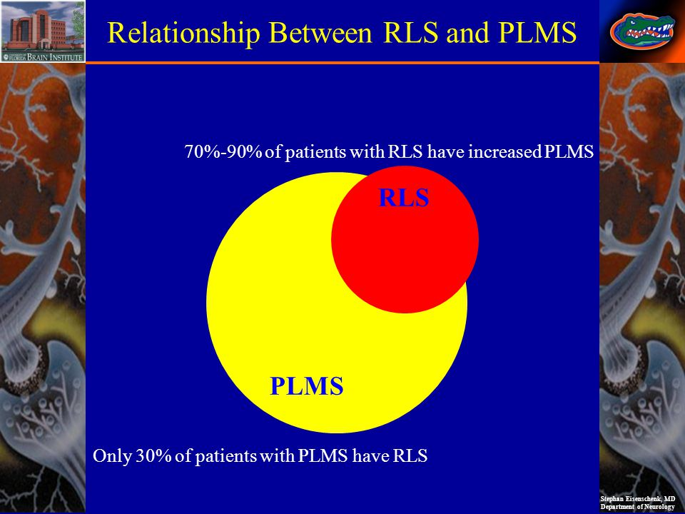 Stephan Eisenschenk, MD Department of Neurology PLMS RLS Relationship Between RLS and PLMS 70%-90% of patients with RLS have increased PLMS Only 30% o