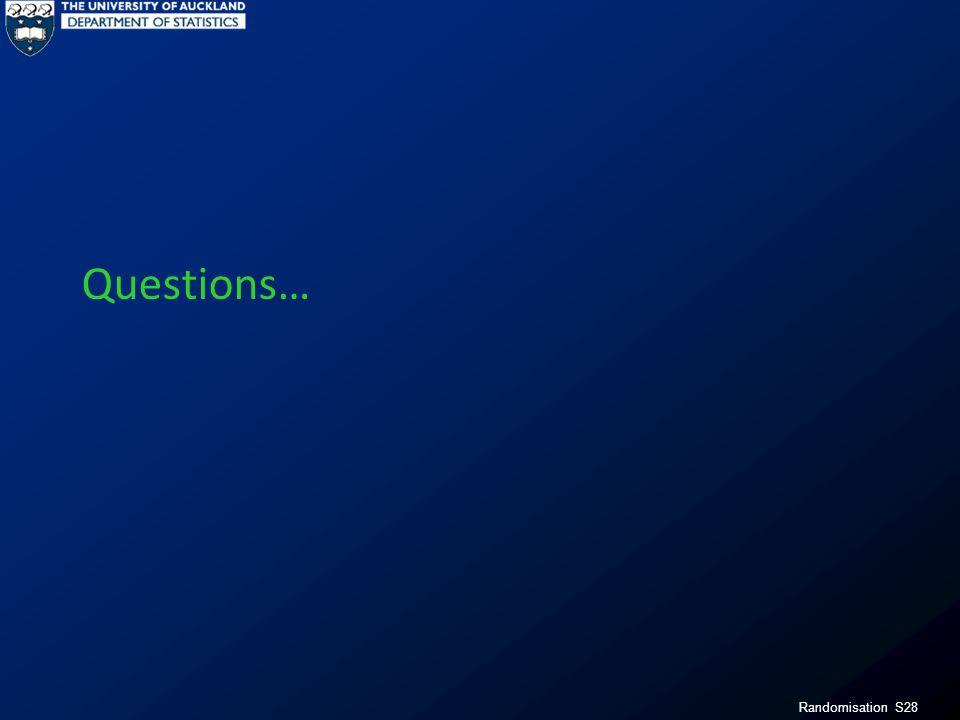 Randomisation S28 Questions…