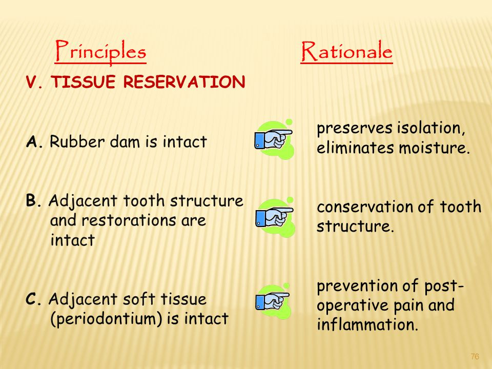 V. TISSUE RESERVATION A. Rubber dam is intact B. Adjacent tooth structure and restorations are intact C. Adjacent soft tissue (periodontium) is intact